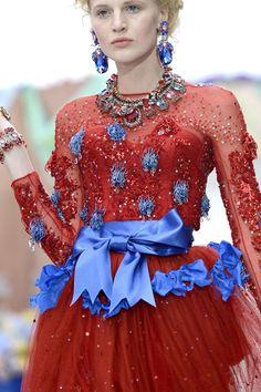 Meadham Kirchhoff S/S 2013, London Fashion Week blue red sequins satin