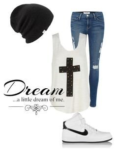 Untitled #121 by musicheartbeatjj on Polyvore featuring Frame Denim, NIKE, Coal and Love Quotes Scarves