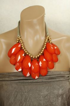 HUGE Double Strand Briolette Bib Necklace Bright Flame Red Anthropologie Stormy Seas, Summer Infatuaion. $44.00, via Etsy.