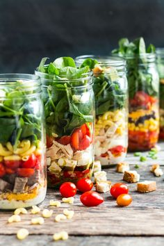 Healthy Layered Lunches are mason jar salads that are strategically layered in order to keep your greens and dressing separated!