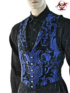 A Victorian gentleman's vest with class. Great for formal occasions can be worn under a suit jacket or by itself. Made in rich black & blue tapestry fabric with black satin lining and back. Gothic Fashion, Mens Fashion, Fashion Outfits, Victorian Tapestries, Victorian Gentleman, Men's Waistcoat, Gothic Mode, Herren Outfit, Cool Jackets