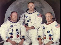Portrait of the prime crew of the Apollo 11 lunar landing mission, Neil Armstrong, Michael Collins and Buzz Aldrin, Jr.   On July 16, 1969, the Apollo crew launched into the sky from the Kennedy Space Center in Florida.  On July 20, 1969, Neil Armstrong left the Eagle and became the first human to ever walk on the moon. Michael Collins, Apollo 11 Crew, Apollo 11 Mission, Moon Missions, Apollo Missions, Neil Armstrong, National Geographic, Apollo Space Program, Nasa Photos