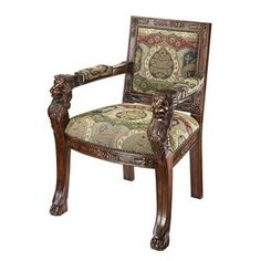 Design Toscano Beardsley Heraldic Lion Fabric Arm Chair