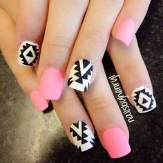 Charming pink Nail Art Designs for Women - fashionist now Matte Nails, Diy Nails, Acrylic Nails, Matte Pink, Acrylics, Black Nail Designs, Cute Nail Designs, Tribal Designs, Fabulous Nails
