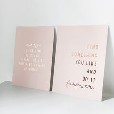 These two wonderful posters, printed on cardboard and imprinted with rose gold…