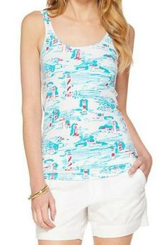 Lilly Pulitzer Tabbie Printed Tank Top in Resort White Watch Out