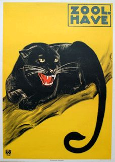 Zoo - Sort Panther. Black panther poster from the Copenhagen Zoo.
