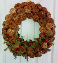 Constructed with halved reversed pine cones. Made to fit between narrow front and storm door spaces. Only 4 inches thick