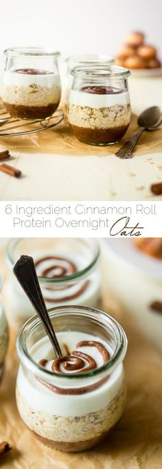 Cinnamon Roll Overnight Oats - These quick and easy overnight oats are packed with protein and taste just like a cinnamon roll. Perfect for a healthy, gluten free make-ahead breakfast on busy mornings!   Foodfaithfitness.com   @FoodFaithFit