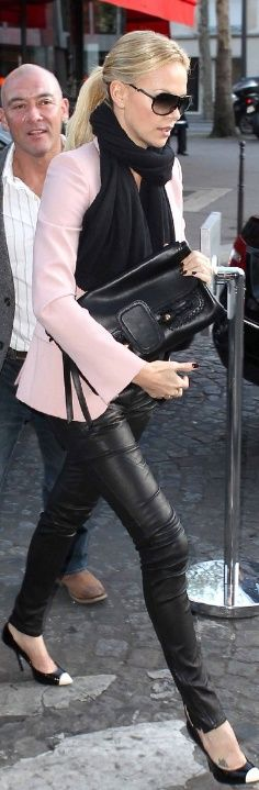 black leather leggings, black scarf, pink blazer, black/pink heels