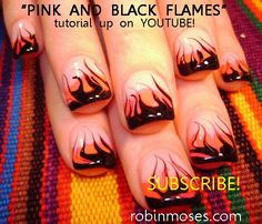 Fire and Flames Nail art tutorials in the Hot and Cute Playlists!
