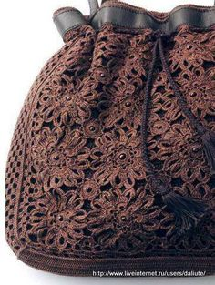 """New Cheap Bags. The location where building and construction meets style, beaded crochet is the act of using beads to decorate crocheted products. """"Crochet"""" is derived fro Crochet Diy, Love Crochet, Irish Crochet, Crochet Motif, Crochet Crafts, Crochet Stitches, Crochet Patterns, Crochet Flower, Diy Crafts"""
