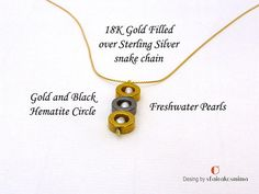 3 Circle Necklace Gold and Black Hematite Circles Gold Chain