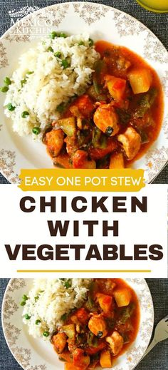 This simple recipe for Chicken Breast with Vegetables is a healthy and easy dinner. This chicken stew takes under 40 minutes, but it tastes like it's been simmering on the stove for hours. Serve with a hearty piece of bread or warm tortillas. Mexican Chicken Recipes, Easy Chicken Recipes, Easy Recipes, Potluck Dinner, Mexican Potluck, Roasted Tomato Sauce, Vegetable Stew, Kitchen Recipes, Tortillas