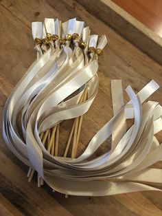20 Wedding Ribbon Wands-Blush & White with gold bell-Party Celebration Wedding Ribbon Wands, Wedding Ceremony Decorations, Are You The One, Blush, Silver, Gold, Etsy, Jewelry, Weddings