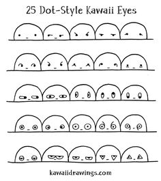 The secret to drawing kawaii eyes and mouths from memory, with 74 examples. This is Week 13 of my drawing challenge to learn kawaii drawings in 6 months. Mini Drawings, Cute Easy Drawings, Cute Kawaii Drawings, Kawaii Doodles, Art Drawings For Kids, Cute Doodles, Cute Animal Drawings, Cartoon Drawings, Doodle Art Drawing