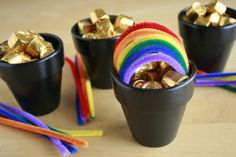 Pipe cleaner pot of gold with Rolos. I'd substitute gold coins--love the pipe cleaner rainbow