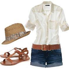 White button up, fedora, gladiators, belted denim shorts