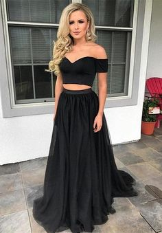 Sexy black two pieces prom dresses tulle short sleeve B90