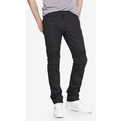 Express Slim Fit Rocco Moto Flex Stretch Skinny Leg Jean ($98) ❤ liked on Polyvore featuring men's fashion, men's clothing, men's jeans, black, biker jeans, black super skinny jeans, stretch jeans, black jeans and dark wash skinny jeans