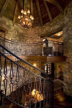 Shocking Wrought Iron Railing decorating ideas for Staircase Rustic design ideas with Shocking beautiful castle chandelier Wrought Iron Stairs, Iron Stair Railing, Iron Balusters, Rustic Staircase, Staircase Design, Grand Staircase, Spiral Staircase, Railing Design, Diy Design