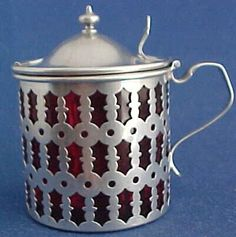 Sterling Silver Mustard Jar or Pot with Cranberry Glass Insert