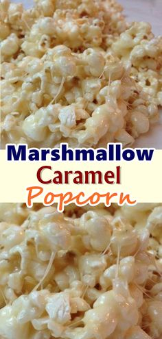Marshmallow Caramel Popcorn Here's a recipe to take popcorn to the next level. Marshmallow caramel popcorn are going to bring a lot of happy faces in the crowd. It is quick, takes no effort, but is amazing with the buttery caramel . Marshmallow Popcorn, Marshmallow Caramel Popcorn, Sugar Popcorn, Cinnamon Popcorn, Marshmallow Recipes, Snack Recipes, Cooking Recipes, Dessert Recipes, Recipes Dinner