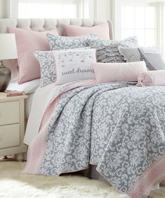 Pink and Gray Damask Quilt Set on #zulily today!