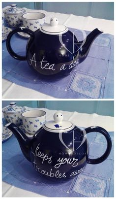 Ceramic teapot blue / white with personalized decoration done by hand