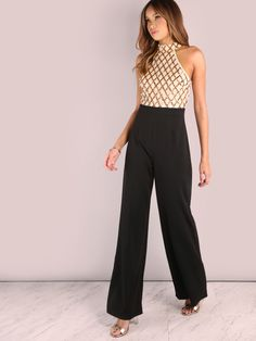 a0a86ecd5e02 Online shopping for Sequin Diamond Tailored Wide Leg Jumpsuit ROSE BLACK  from a great selection of women s fashion clothing   more at MakeMeChic.