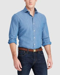 Camisa vaquera de hombre Polo Ralph Lauren regular lisa azul · Polo Ralph  Lauren · Moda