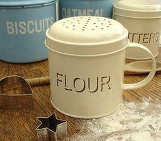 ★Enamel FLOUR SHAKER Tin canister cream enamelware ★ | eBay