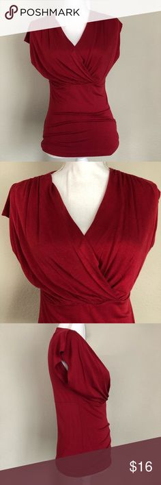 MNG by Mango Surplice Top Scarlet Small MNG by Mango Surplice Top Scarlet Womens Small - 97% viscose 3% Elastane - see pics for measurements - excellent used condition Mango Tops Blouses