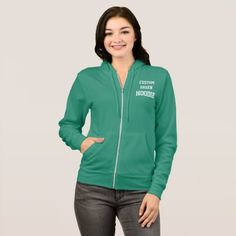 Custom Personalized Women's GREEN FULL ZIP HOODIE - #customizable create your own personalize diy