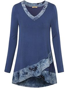 bfd415e63b9dd online shopping for Timeson Women s Long Sleeve Scoop Neck Patchwork A Line  Casual Layered Tunic Tops from top store. See new offer for Timeson Women s  Long ...