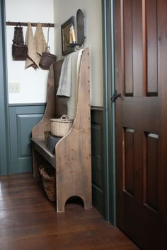foyer hall bench - I really like this.  Looks like square nails down the back?  I could use upholstery tacks to mimic the look.