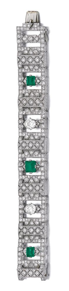 EMERALD AND DIAMOND BRACELET, CIRCA 1930 Designed as a series of open work geometric panels, set with step-cut emeralds, circular- and single-cut diamonds, length approximately 180mm, French assay and partial maker's marks.