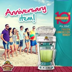 """Calling all Parrotheads! In honor of our  Key West™ Frozen Concoction Maker's® 10th Anniversary, we are hosting a """"Splendid Summer Celebration Sweepstakes"""", where we are giving away10 Margaritaville® Jimmy Buffett Anniversary Edition Key West™ Frozen Concoction Makers®. 10 chances to win our new collector's item!  #MGVSplendidSummer #Margaritaville10AnniversarySweep [Promotional Pin]"""
