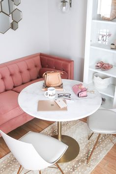 Fresh Pink Breakfast Nook - Oh, how we'd love to start our morning here! | Blogger Office, Pink Velvet Sofa, Marble Table, Marble Office Table, Glam Office, Pink and Gold Office