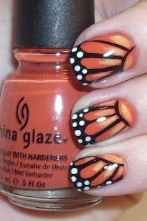"Nail Polish Art Addiction: Monarch Butterfly Wings - China Glaze ""Life Preserver"" as the base coat"