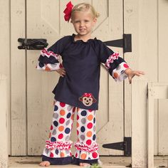 Lolly Wolly Doodle Navy Corduroy Boy Dot Ruffle Pant Set 9/3
