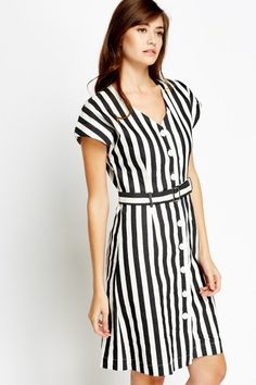 Belted Stripe Midi Dress - WHITE/BLACK - £5 - on Everything5pounds.com