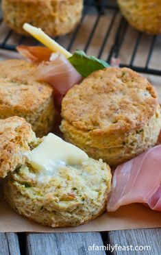An amazingly delicious Prosciutto and Cheese Biscuit recipe - great as a side to soups or salads or made into an egg and cheese sandwich. Cheese Biscuits, Buttermilk Biscuits, Egg And Cheese Sandwich, Artisan Bread, Biscuit Recipe, Recipe Boards, Scone Recipes, Bread Recipes, Prosciutto