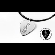 Sterling Silver engrave guitar pick necklace Music friendship | Etsy