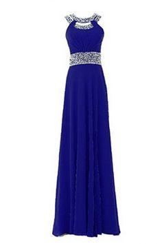Women's Long Prom Dress Chiffon Beading Bridesmaid Dress Sequins A-Line Party Dress PD034