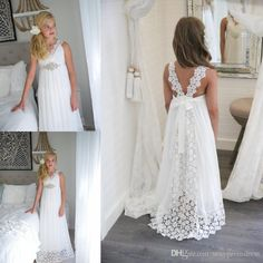 8f784f07de0 Simple Lace Empire Beach Wedding Flower Girl Dresses 2018 v Neck Long Girls  Pageant Gowns With Beaded Belt Straps Back Birthday Party Dress