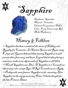 Sapphire Meaning History and Folklore Minerals And Gemstones, Crystals Minerals, Rocks And Minerals, Gemstones Meanings, Crystal Guide, Crystal Magic, Crystal Healing Stones, Stones And Crystals, Gem Stones
