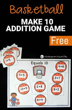 Work on sums of 10 with a fun, basketball theme! This free basketball make 10 game is great for math centers and includes a recording sheet as well!