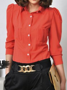 Red Lapel Long Sleeve Pocket Chiffon Blouse