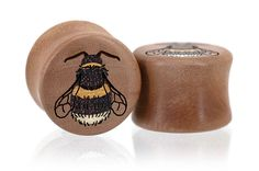 Bumblebee Bee Bees Wood Plugs Gauges from Omerica Organic. Use Rep Code SWEETLE at checkout for 20% off your first purchase!